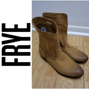 NWOT FRYE Cognac Cara Roper Mid Calf Leather Boot